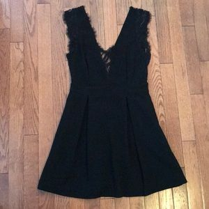 BCBGeneration Lace Detail Mini Black Dress